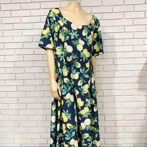 eShakti Women's Navy Lemon Dress